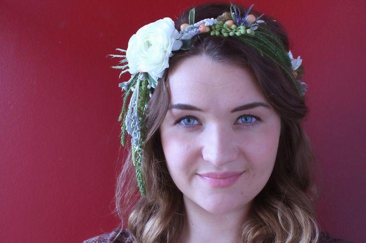 ranunculus, dusty miller, hypericum, frog eye brunia, thistle and scabiosa floral crown Designer: Weddings By Haley