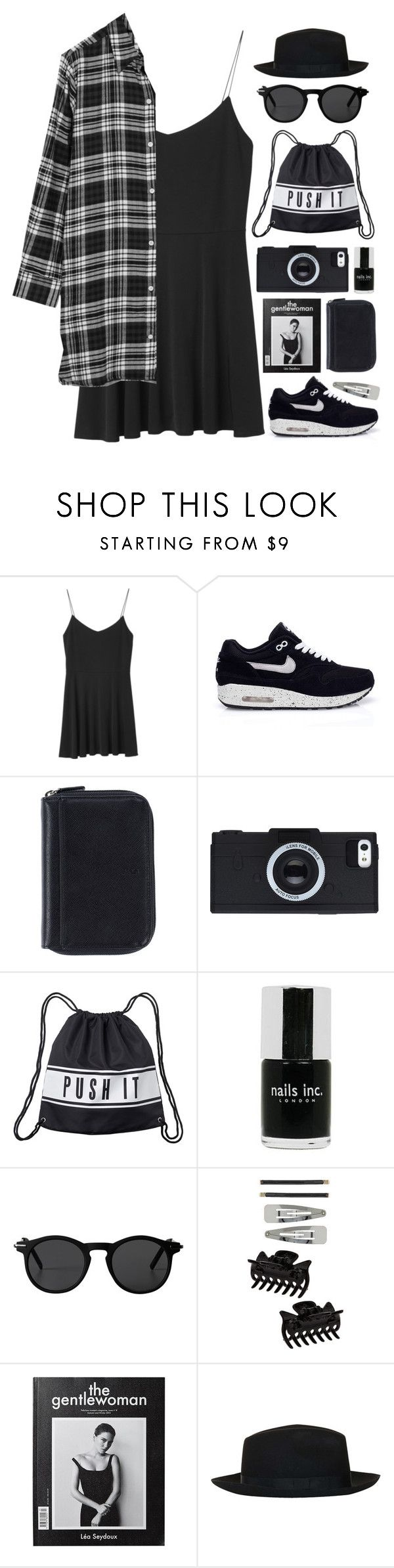 """""""Boundaries"""" by tania-maria ❤ liked on Polyvore featuring Monki, NIKE, Nava, Nails Inc., Dorothy Perkins, Topshop and DKNY"""