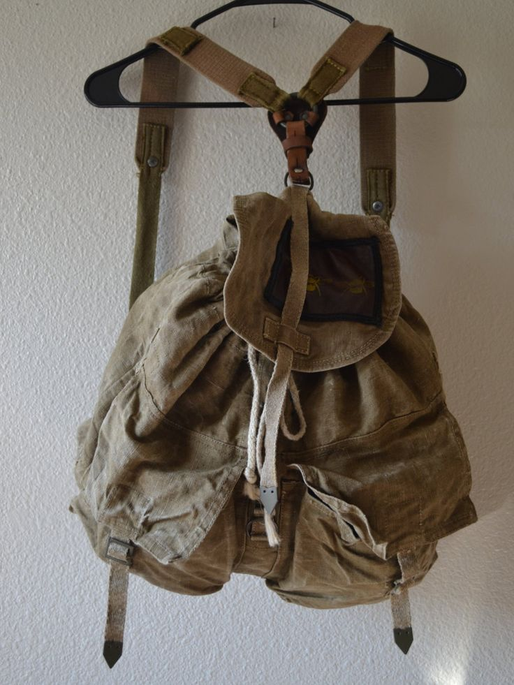 Vintage Army Surplus Bag // Army Rucksack // Military Rucksack // backpack // Olive Green Duffel Bag // Canvas Bag // Grunge Bag / Canvas (35.00 USD) by LowFructose