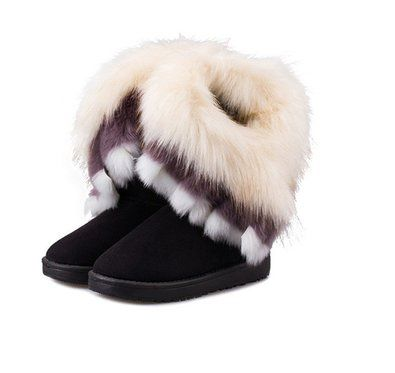 Qossi Womens Suede Snow Ankle Boots Faux Fur Tassel Flat Shoes