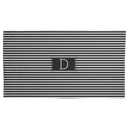 Monogram Black Oxford Stripe King Size Pillow Case - black and white gifts unique special b&w style
