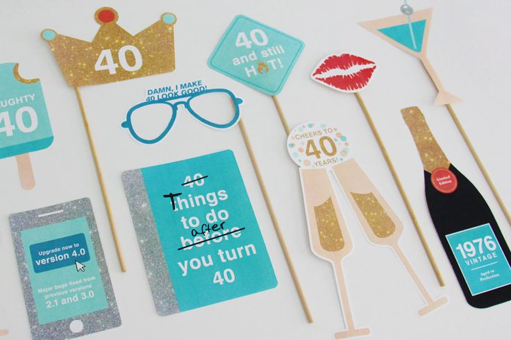 40th Birthday 1976 Photo Booth Props Printable - Oceania | INSTANT DOWNLOAD  https://www.birthdays.durban