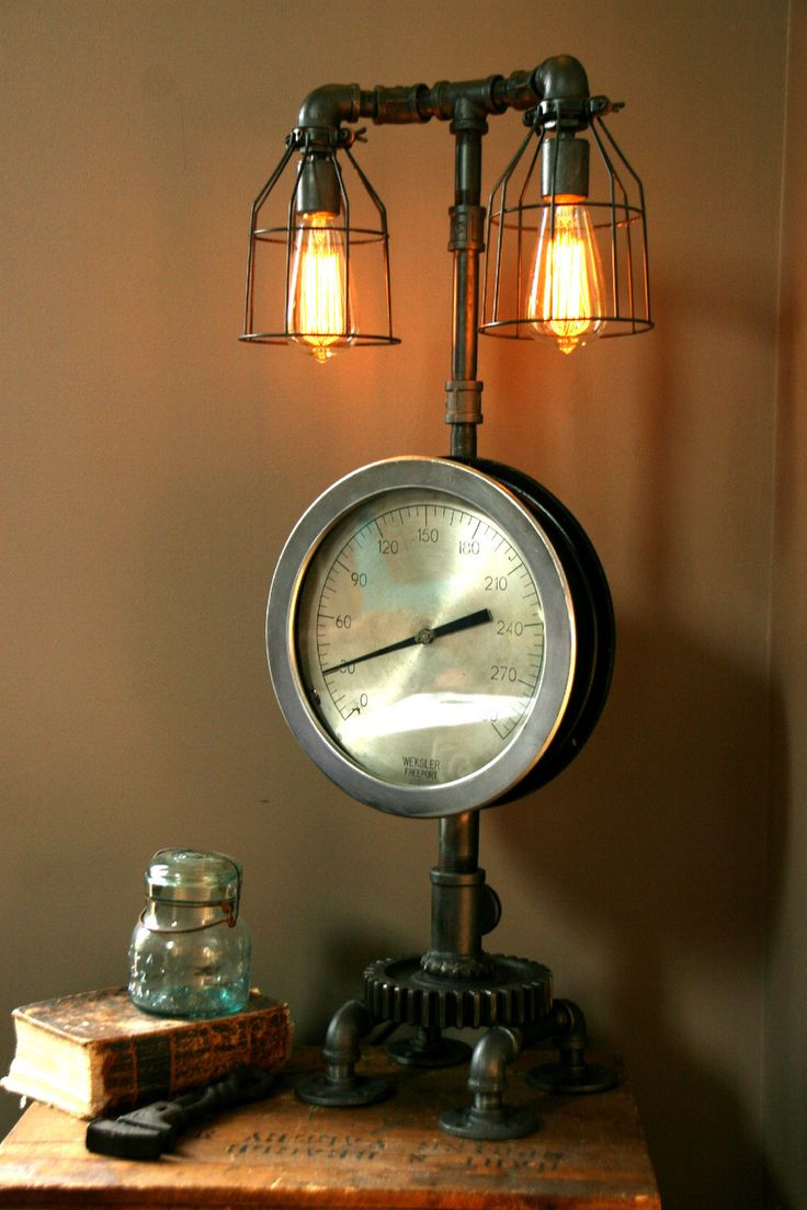 Industrial lamps for sale - Steampunk Lamp Light Industrial Art Machine Age Salvage Steam Gauge Ebay