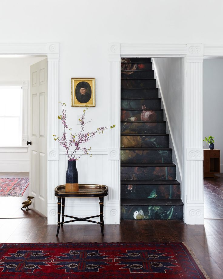 Fresh Decorating Ideas: Creative Places to Use Wallpaper. On the stairs is quite a lovely surprise.
