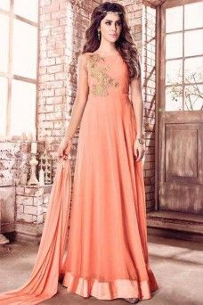 Attractive Peach Georgette Fabric Designer Party Wear Anarkali  #suitsfromsurat #indiancollection #partywear #traditional #festive #occasionally #wedding #fancy #casualwear #designer #stylish #printed #embroidered #pantstylesuit #dhotisuit #sarees #sari #lehengas #gown #suits #anarkali #bride #bangkok #canada #halfhalfsaree #lehengasaree