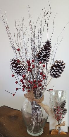 3 Piece Birch Twig with Stemmed Pine Cones and Berries Bouquet Set