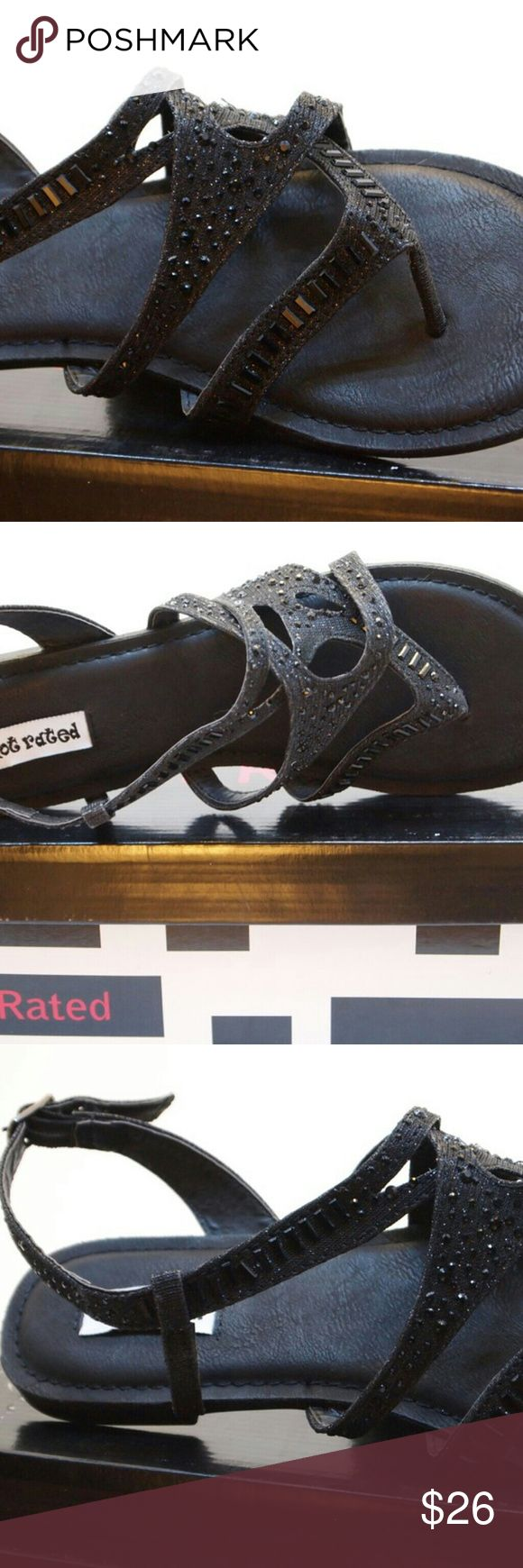 Women's sandals shoes black spring summer shoe. New in box. Super cute! Handling time is 3 to 5 days. Not Rated Shoes Sandals