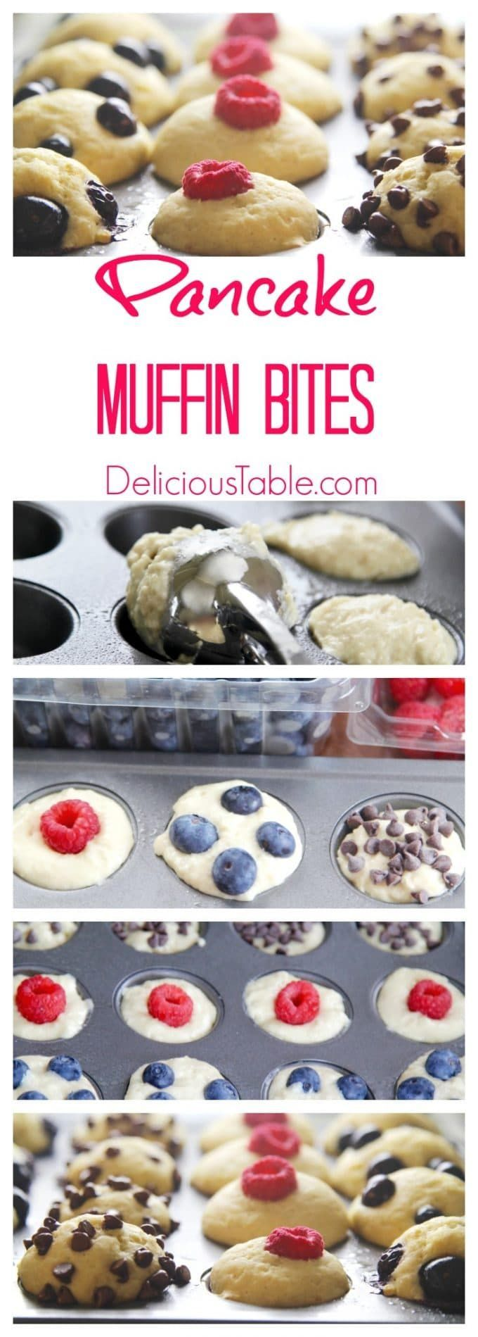 You'll love these Pancake Muffin Bites! Is it a pancake recipe? Is it a muffin recipe? It's BOTH! This is a great breakfast recipe for kids and kids at heart. Decorate your cute Pancake Muffin Bites with blueberries, raspberries, and chocolate chips. #pancakerecipes #muffinrecipes #breakfastrecipes