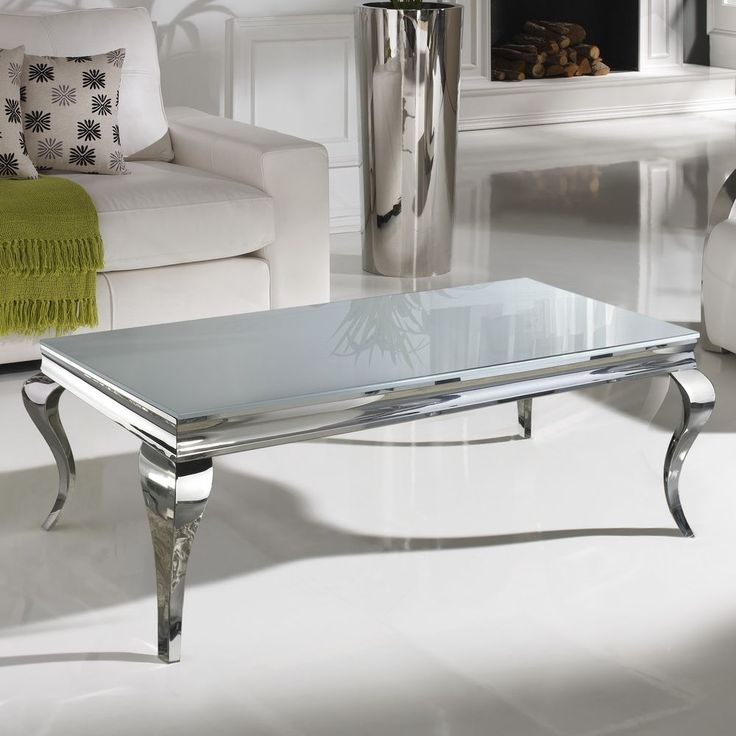 Buy White Glass And Metal Square Coffee Table From Fusion: Rectangular Coffee Table Stainless Steel Glass Barroque