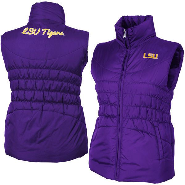 Women's LSU Tigers Purple Olympia Vest ($65) ❤ liked on Polyvore featuring outerwear, vests, purple, colosseum, purple vest, purple waistcoat, vest waistcoat and embroidered vest