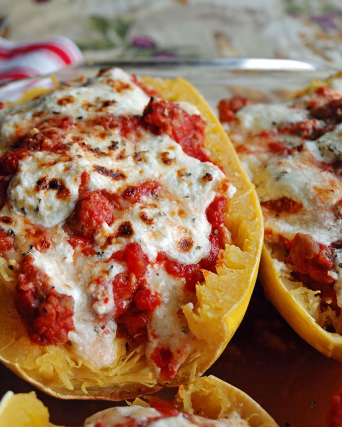 Big-as-Your-Face Lasagna Boats | Gluten free. Made with spaghetti squash, sausage sauce & lots of cheese!