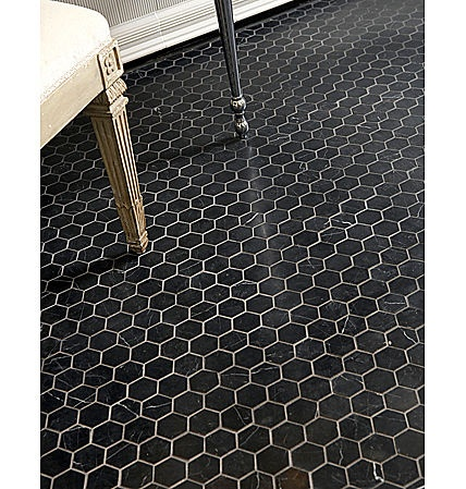 Ann Sacks, Nero Marquina, Black Honed, Hex Floor Tile   Obsessed For Future  Guest Bathroom
