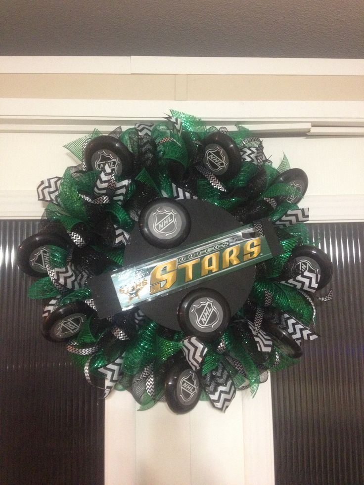 Dallas stars hockey team. With hockey pucks decor. Created and designed by Ronda Cromeens. Large 50$