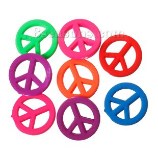 "Wholesale - Acrylic Spacer Rubberized Neon Beads Peace Symbol At Random About 17mm( 5/8"") Dia, Hole: Approx 1.5mm, 200 PCs"