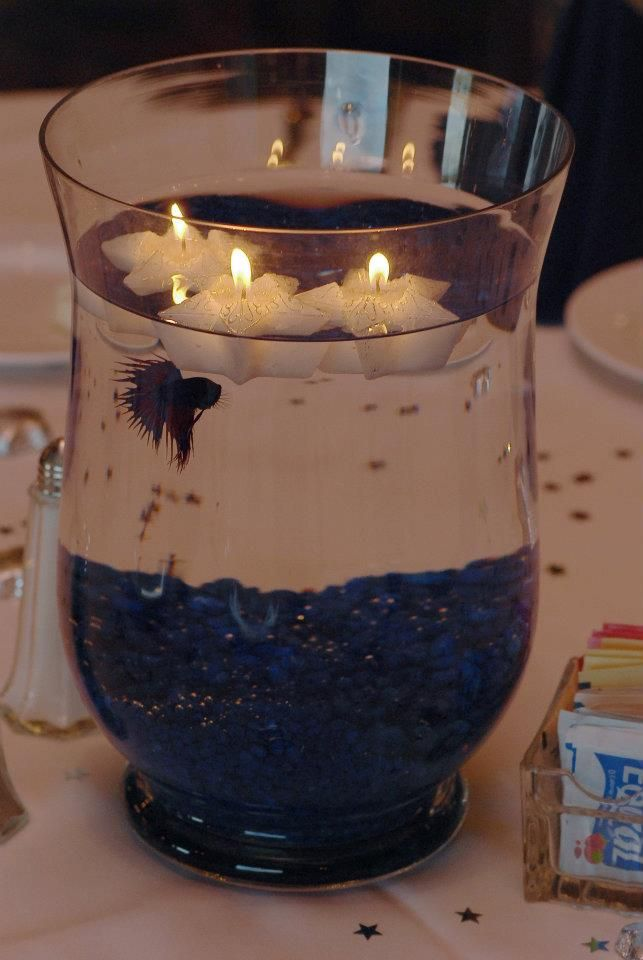 beta fish centerpieces  oh my gosh...i have a strange obsession with fish, and this is just kind of fun! (but probably not in real life...)