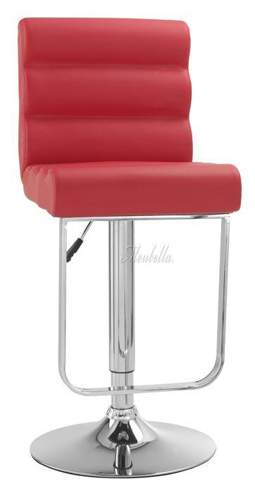 Barkruk in rode kleur met gerolde zitting en rugleuning. Verstelbaar in hoogte en 360 graden draaibaar! http://www.meubella.nl/2960-barkruk-alton-rood-showroommodel.html
