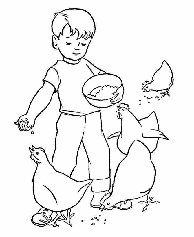 farm work and chores coloring pages printable boy feeding the chickens coloring page and kids - Kid Activity Pages