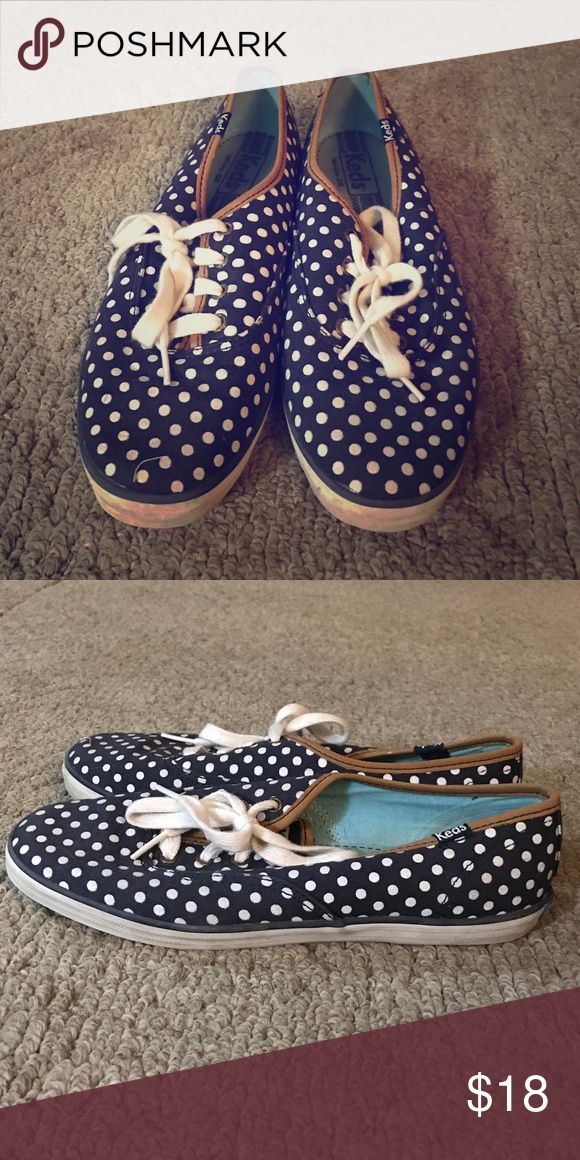 Keds Sneakers Blue and white polka dot keds sneakers, gently worn, too small for me. Keds Shoes Sneakers