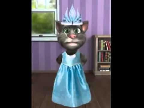Frozen !! Gato cantando Libre Soy de Frozen vestido de Elsa - Gato Tom Frozen Cancion libres soy - YouTube