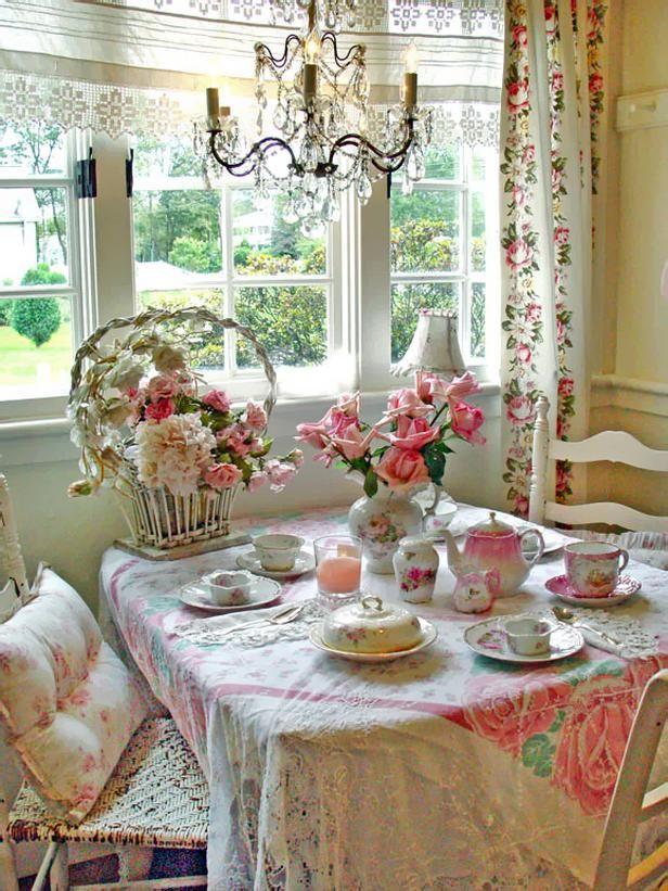 in love. curtains, flowers, tea set.