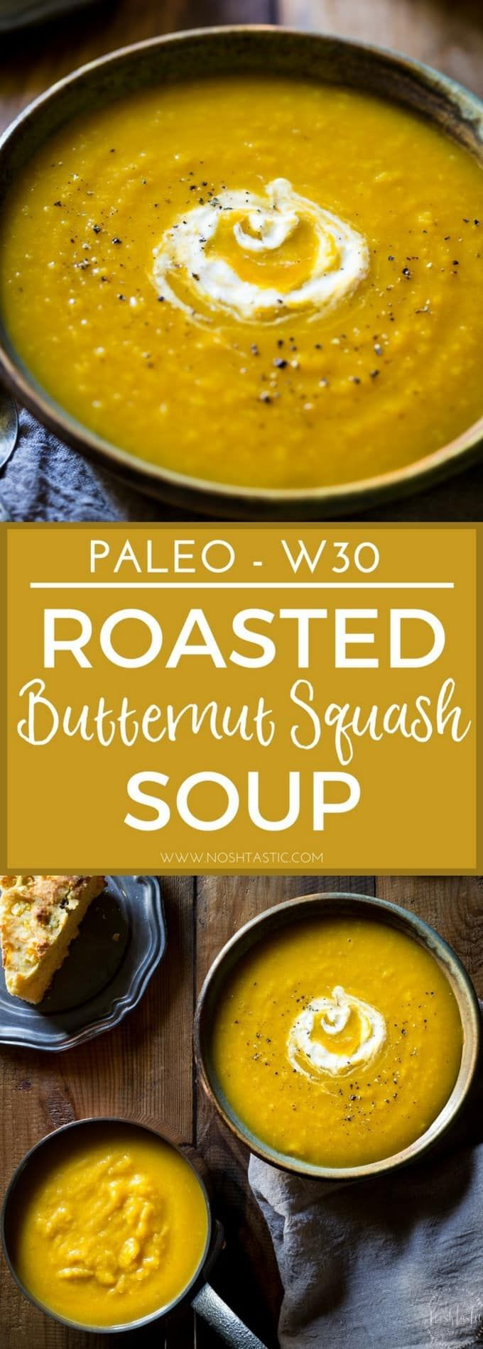 This naturally creamy Roasted Paleo Butternut Squash Soup with Apple is so easy to make and super healthy, it's gluten free and Whole30 and can be made vegan (Gluten Free Recipes Soup)