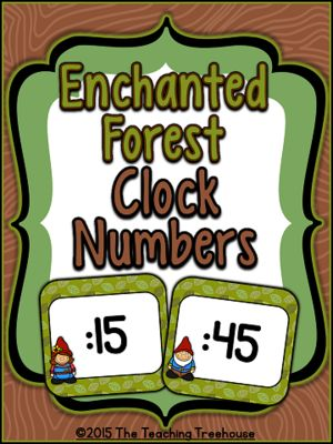 """Free! These adorable clock numbers will go great with any enchanted forest classroom décor! Simply print, cut out, laminate, and tape to the wall around your clock to help your students learn how to tell time! Also included are the labels """"o'clock"""", """"quarter after"""", """"half past"""", and """"quarter till""""."""
