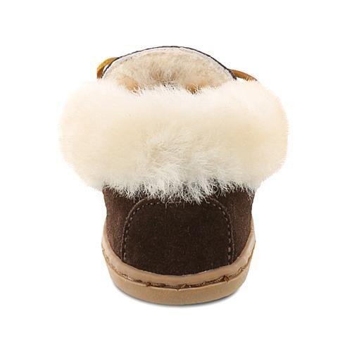 Minnetonka Alpine Suede Sheepskin Slipper - Brown