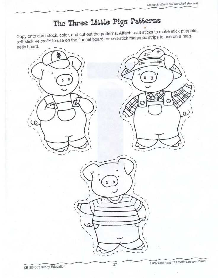 The Three Little Pigs Character Cut-outs