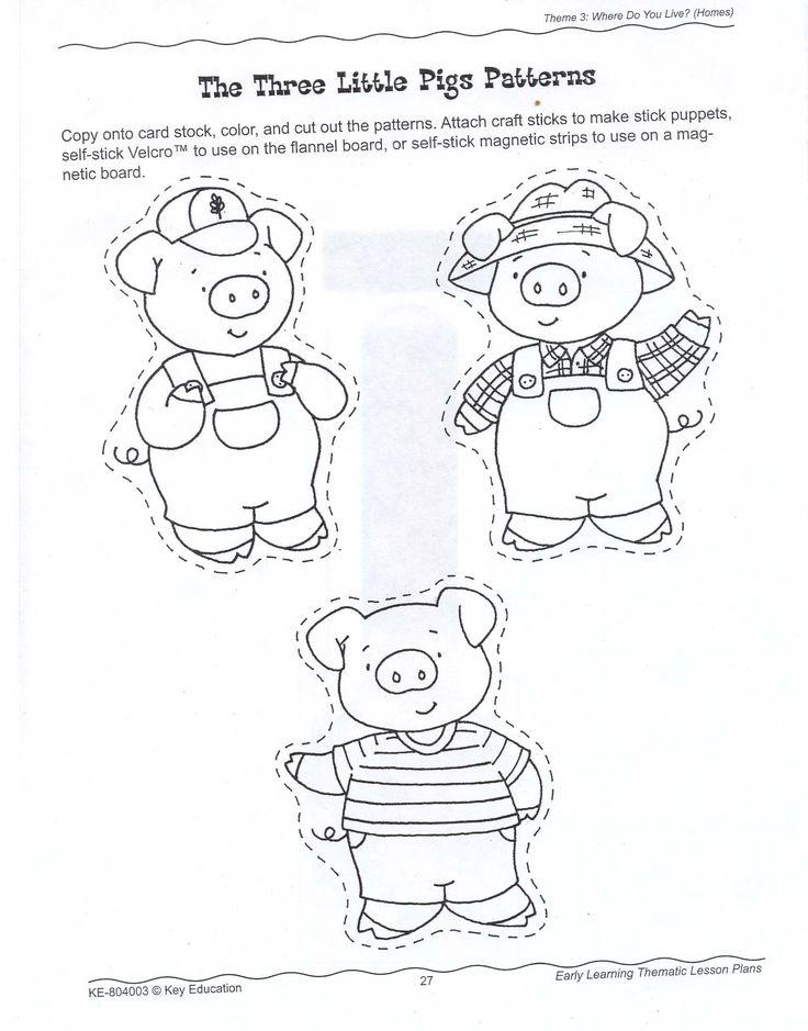 3 little pigs (craft stick puppets)