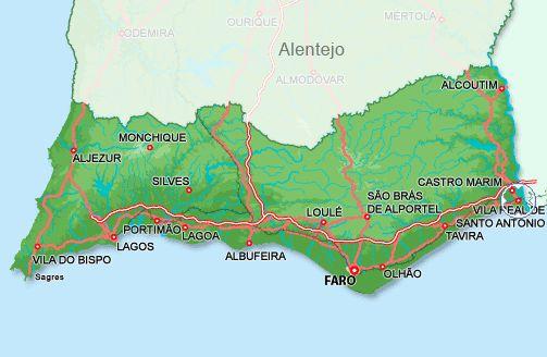Kaart Algarve