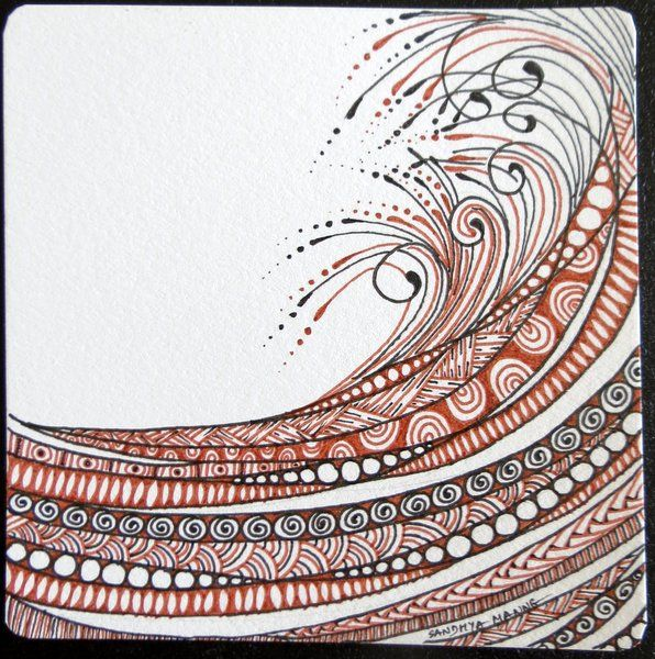 Waves | zentempletangles.com ~ love the flow and the brown & black. By CZT Sandhya Manne