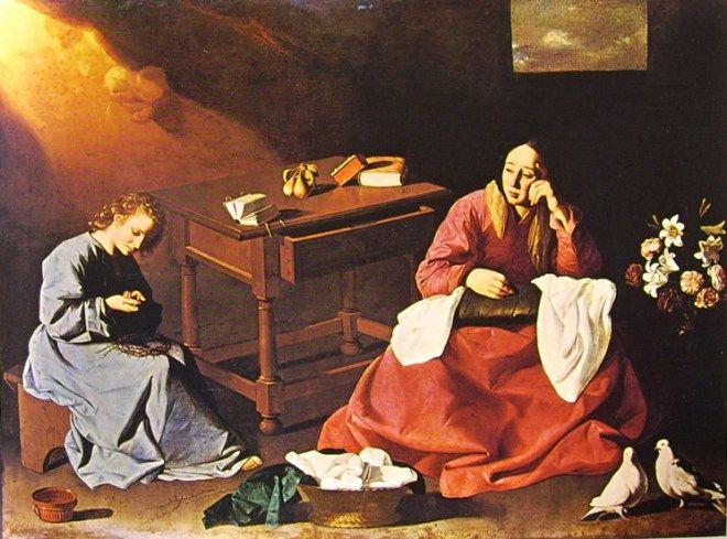 """Francisco Zurbarán, Gesù fanciullo contempla la corona di spine, (o: """"La casa di Nazareth""""), 1640 circa, Museum of Art, Cleveland."""