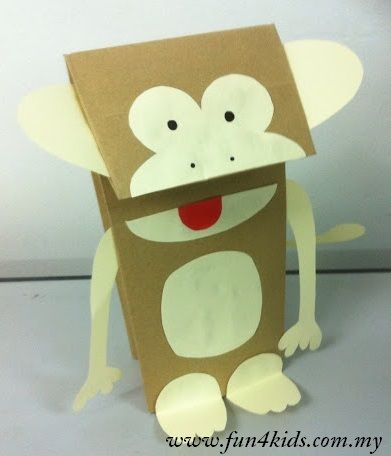 Paper bag monkey puppet