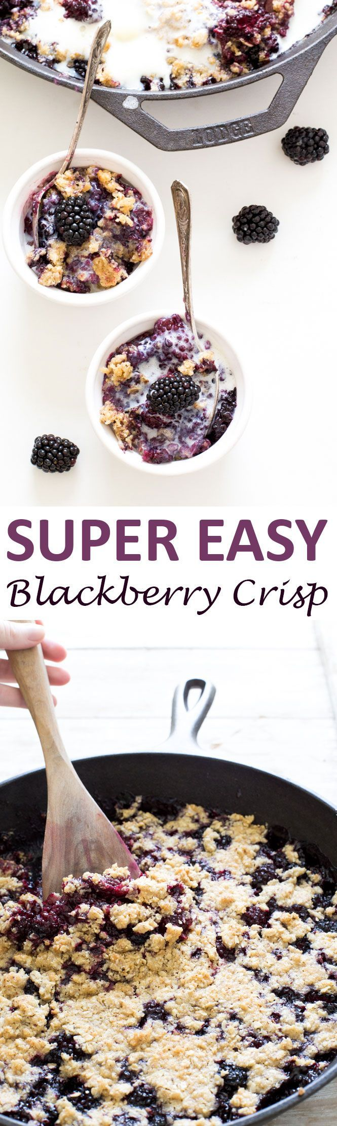 Super Easy Blackberry Crisp. Warm and gooey with a crispy oat topping. Top with vanilla ice cream for an amazing dessert. Takes less than 10 minutes to throw together! | chefsavvy.com #recipe #blackberry #crisp #breakfast
