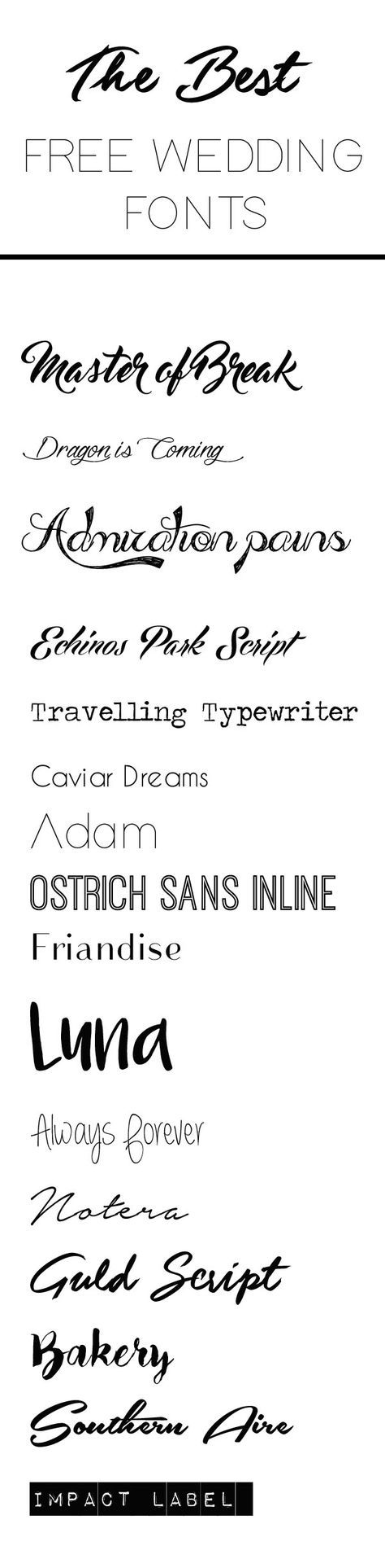 The Best Free Wedding Fonts - free download - put together by The Wedding Of My Dreams