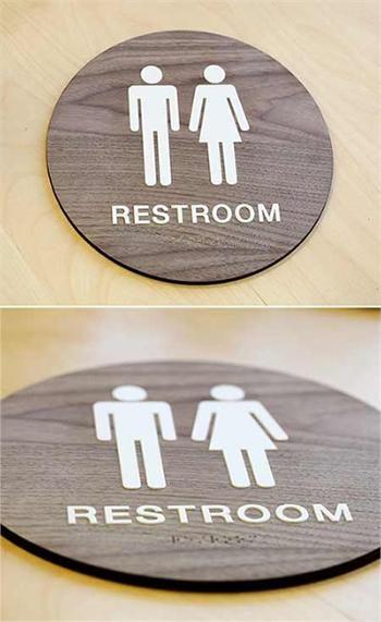Stylish Restroom Signs ADA Braille - Wood Bathroom Signs