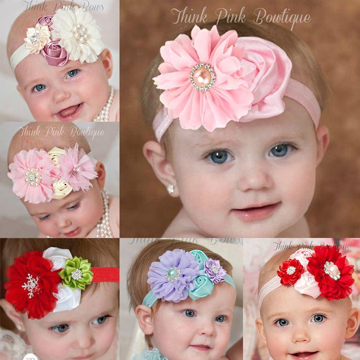 2016 newest design baby girl flower headband hair flower band rhinestone kids head band children hair accressories