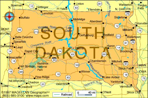 Map of South Dakota was the 40th state to join the union on – South Dakota Travel Information Map
