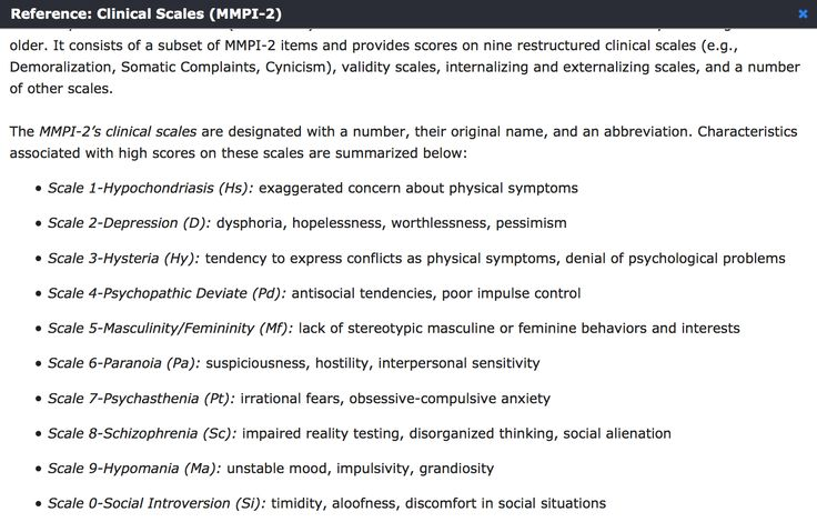 Clinical Scales of MMPI-2 | EPPP Psychology Studies | Pinterest