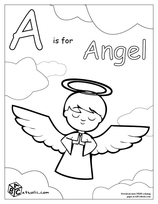 this page has the abcs of being catholic in coloring pages for free each letter