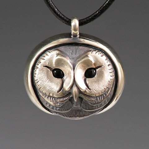 Silver Saw Whet Owl / plain pendant by Brooke Stone Jewelry