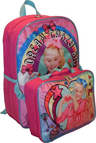 """#Nickelodeon #Girl #Jojo #Siwa 16"""" #Backpack With #Detachable #Matching #Lunch #Box Made of an easy to clean and very durable polyester Includes one #backpack with #detachable heart shape #lunch #box #Backpack features one large zippered compartment for binder, books and folders & two net side pockets for bottles https://travel.boutiquecloset.com/product/nickelodeon-girl-jojo-siwa-16-backpack-with-detachable-matching-lunch-box/"""