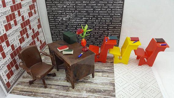 Renwal Desk Swivel Chair 3 School desks Dollhouse Toy Furniture Hard Plastic  #MarxRenwal #DeskChairOffice #DollFurniture #PlasticToyDoll #ToyFurniture #MiniatureDollToy #DollhouseToy #MinimalScratch #TinLithoMetal #DollHouse #dollhouse#miniatures#dolls#vintagetoys#retro#midcentury#marx#renwal#minimalscratch#etsyseller