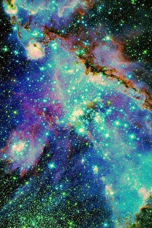 Galaxay Universe Neon Colors Blue pattern