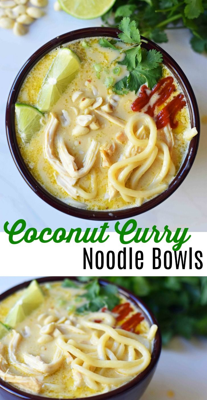 Coconut Curry Noodle Bowls. These Thai Curry Noodles are gluten-free and dairy-free and made in less than 30 minutes. A quick and easy 30-minute meal which is full of flavor. www.modernhoney.com