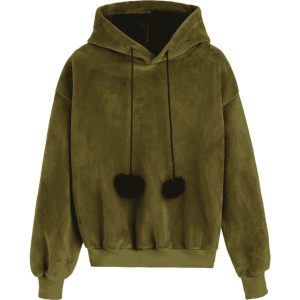 Pompom Velvet Hoodie Army Green ($24) ❤ liked on Polyvore featuring tops, hoodies, hoodie top, brown hooded sweatshirt, olive green top, olive green hoodies and army green top