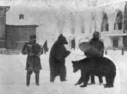 Trainers and their bears, Kaluga, c. 1890's.