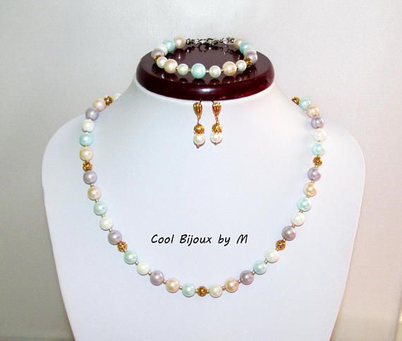 Pastel  Mallorca pearls set Elegant jewelry set pearl