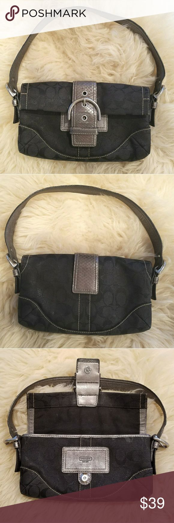 """Coach Signature Metallic Black & Grey Python Bag Small Coach Signature Black Metallic Jacquard Fabric bag with Python Snakeskin Trim. Some minor signs of use inside and out, shown in pics.  Offers welcome   Measurements (approx): 10"""" w x 6.5"""" h, handle drop 7"""" (adjustable) Coach Bags Shoulder Bags"""