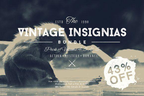 33 Trendy Vintage Insignias Bundle 2 by Yusof Mining on @creativemarket